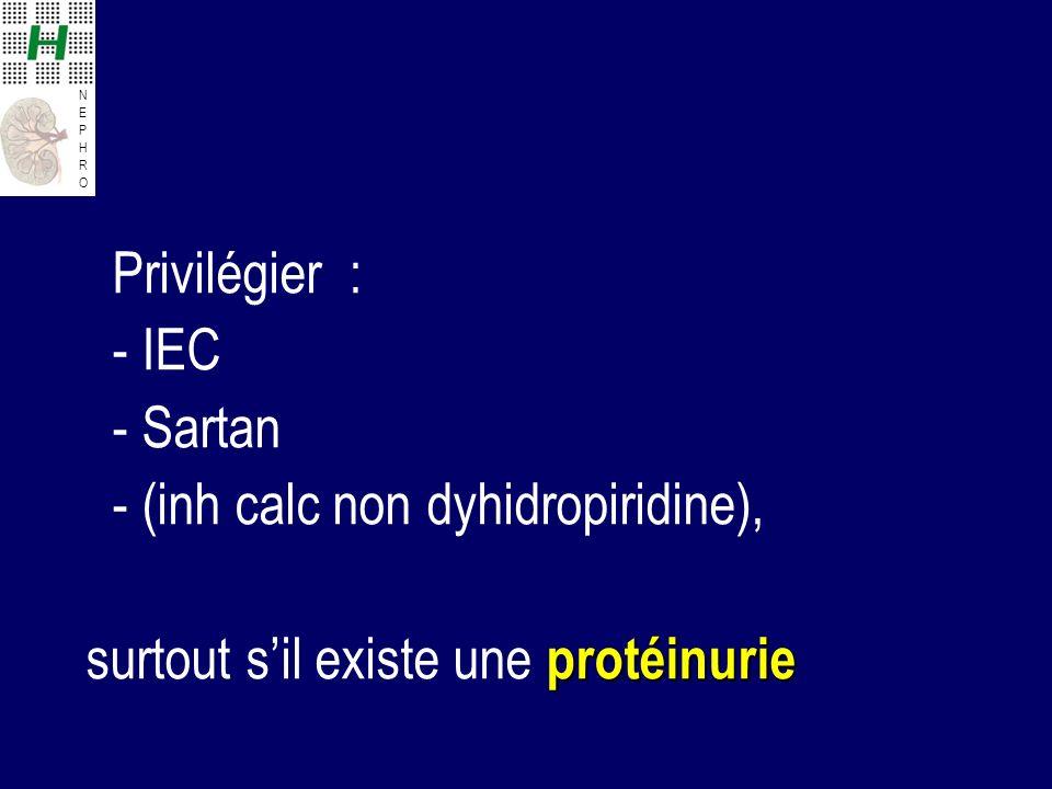 Privilégier : - IEC - Sartan - (inh calc non dyhidropiridine), surtout s'il existe une protéinurie