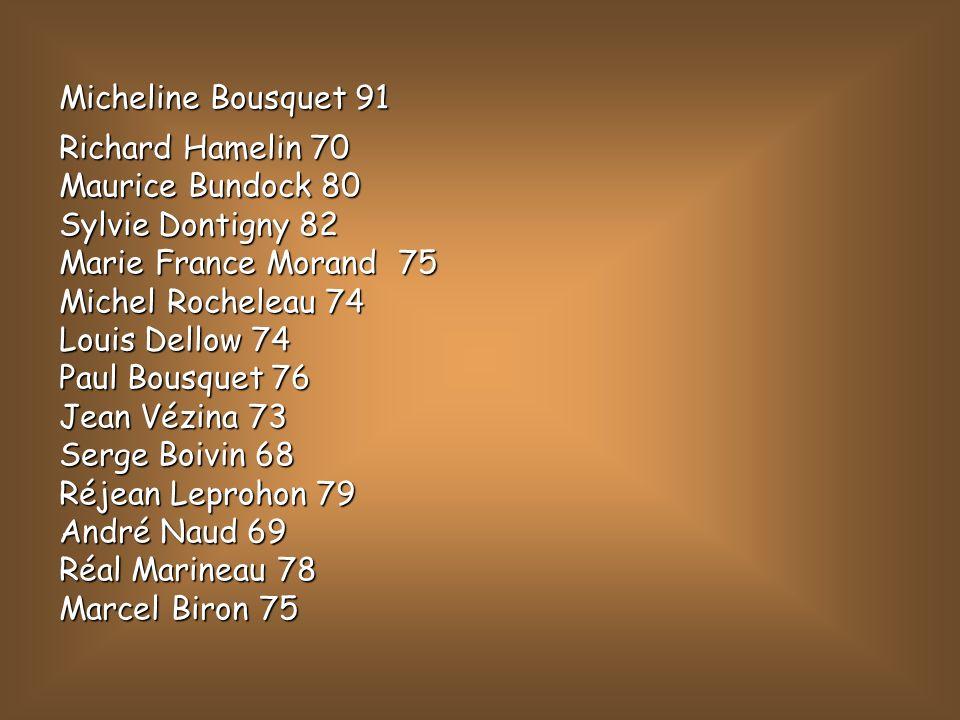 Micheline Bousquet 91Richard Hamelin 70. Maurice Bundock 80. Sylvie Dontigny 82. Marie France Morand 75.