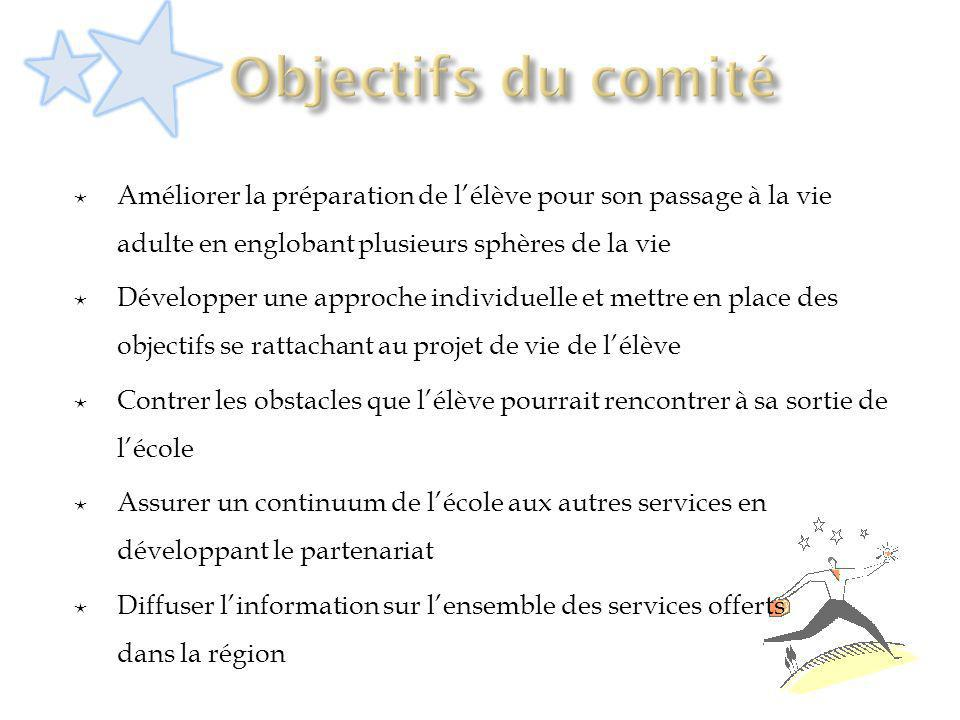 Objectifs du comité Améliorer la préparation de l'élève pour son passage à la vie adulte en englobant plusieurs sphères de la vie.