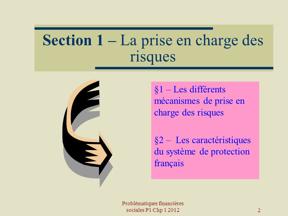 Section 1 – La prise en charge des risques
