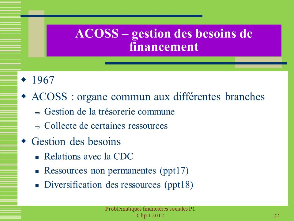 ACOSS – gestion des besoins de financement