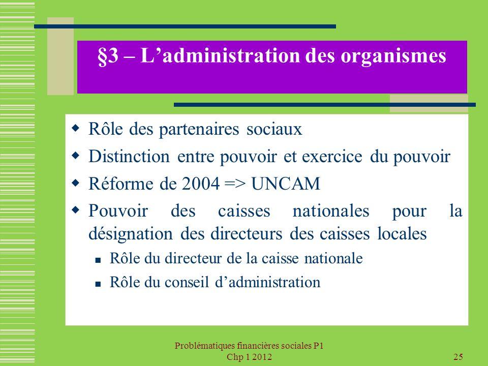 §3 – L'administration des organismes