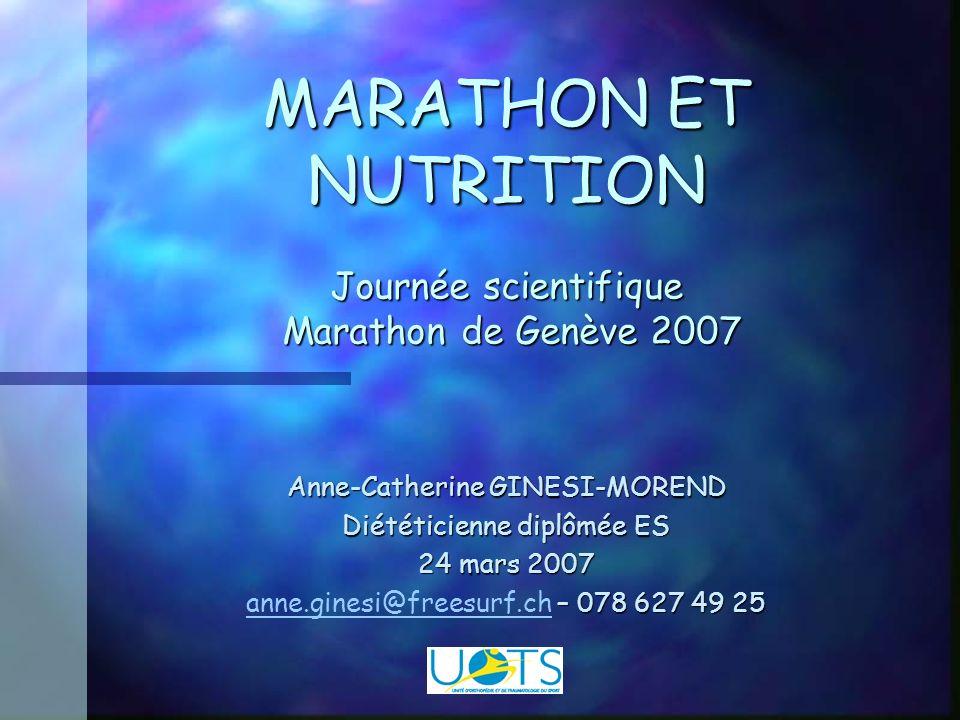 MARATHON ET NUTRITION Journée scientifique Marathon de Genève 2007