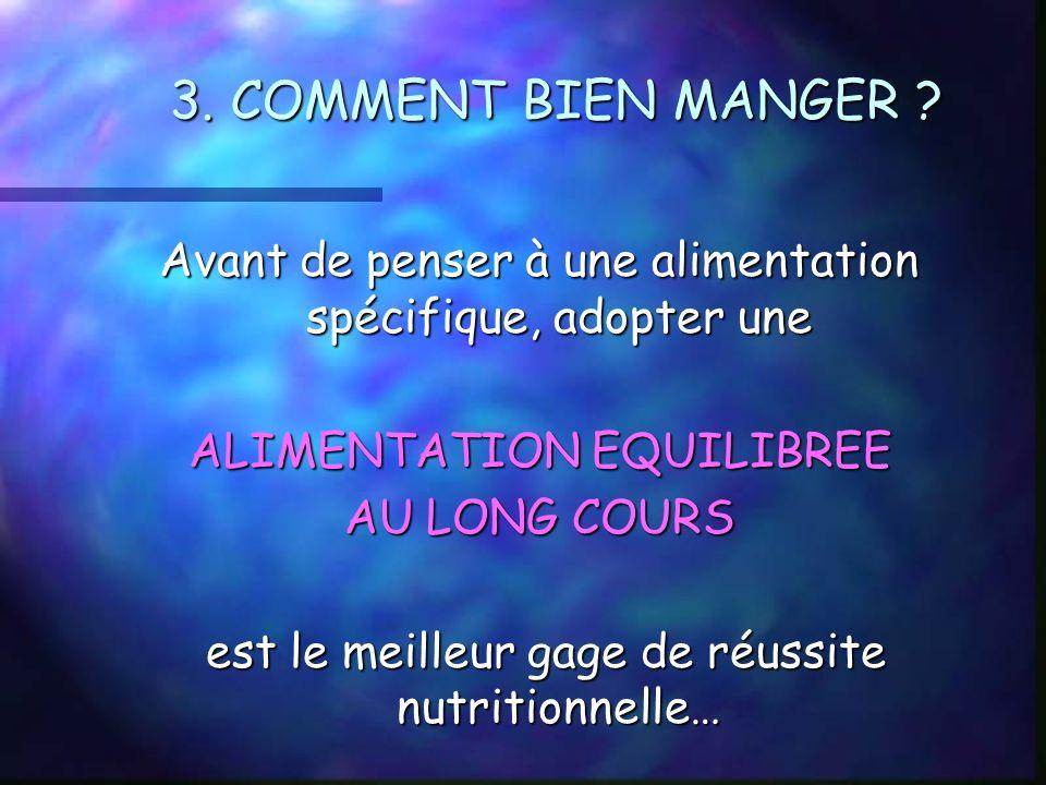 3. COMMENT BIEN MANGER Avant de penser à une alimentation spécifique, adopter une. ALIMENTATION EQUILIBREE.
