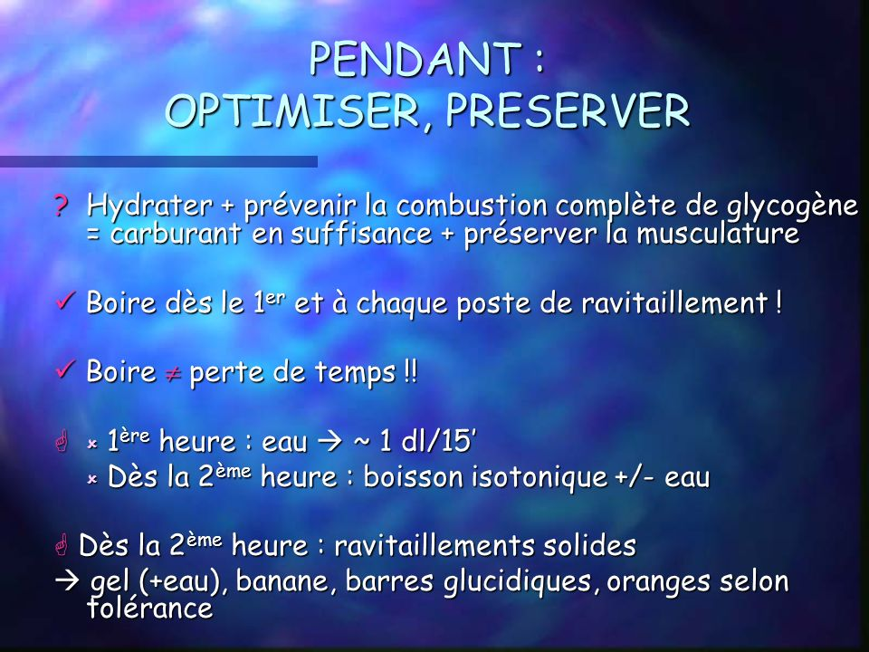 PENDANT : OPTIMISER, PRESERVER