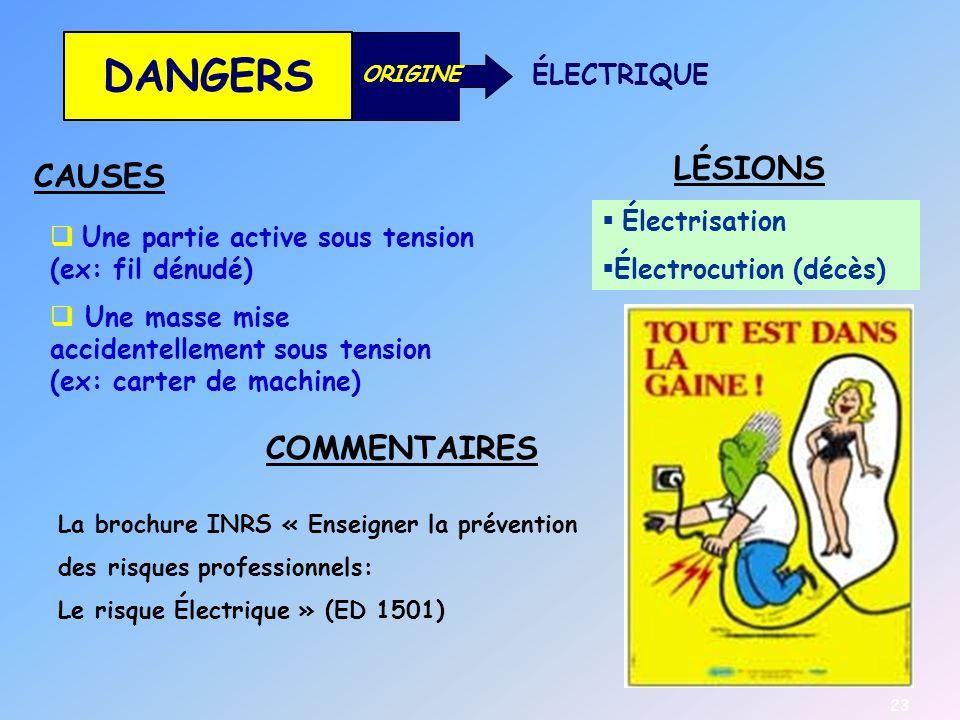 DANGERS LÉSIONS CAUSES COMMENTAIRES ÉLECTRIQUE Électrisation