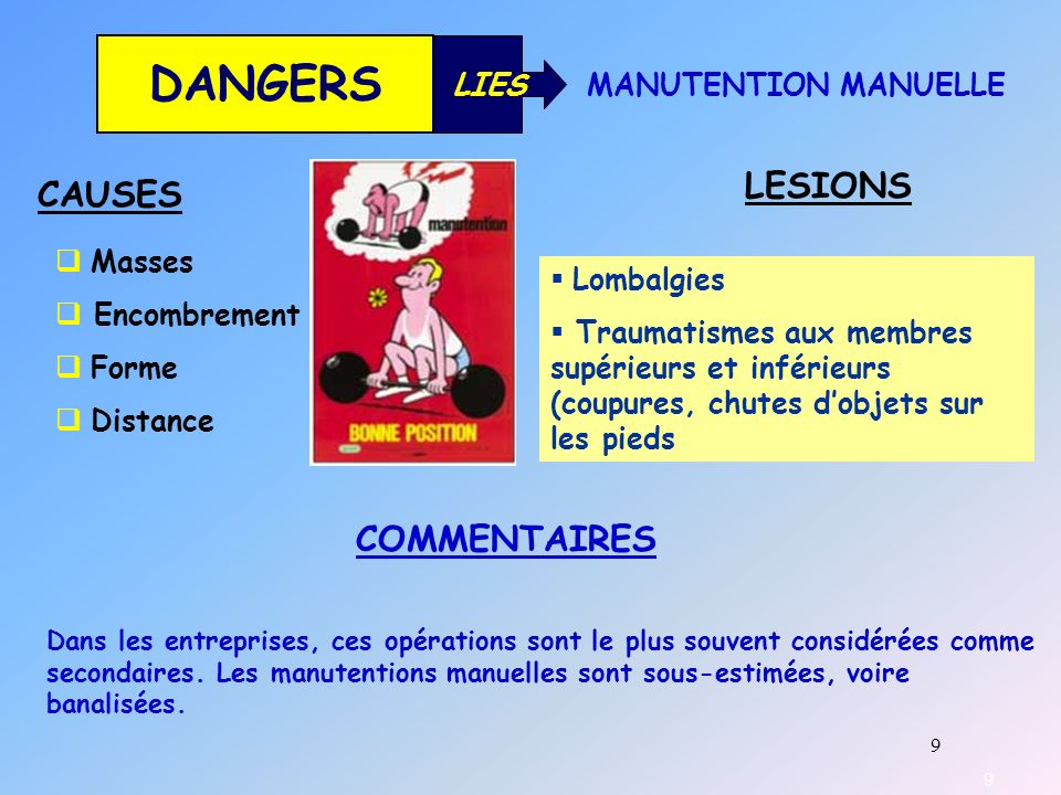 DANGERS LESIONS CAUSES COMMENTAIRES LIES MANUTENTION MANUELLE Masses