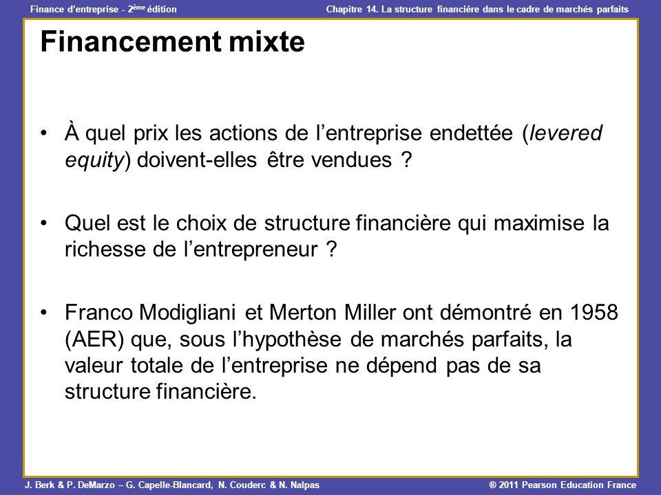 Financement mixte À quel prix les actions de l'entreprise endettée (levered equity) doivent-elles être vendues