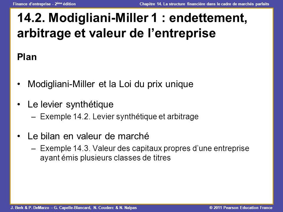 14.2. Modigliani-Miller 1 : endettement, arbitrage et valeur de l'entreprise