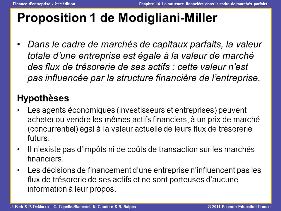Proposition 1 de Modigliani-Miller