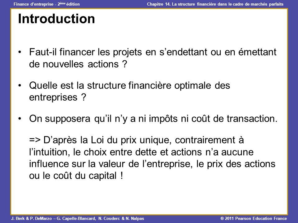 Introduction Faut-il financer les projets en s'endettant ou en émettant de nouvelles actions