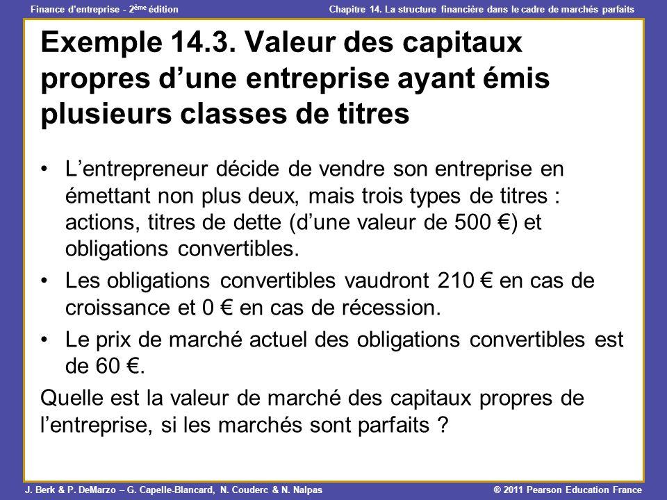 Exemple 14.3. Valeur des capitaux propres d'une entreprise ayant émis plusieurs classes de titres