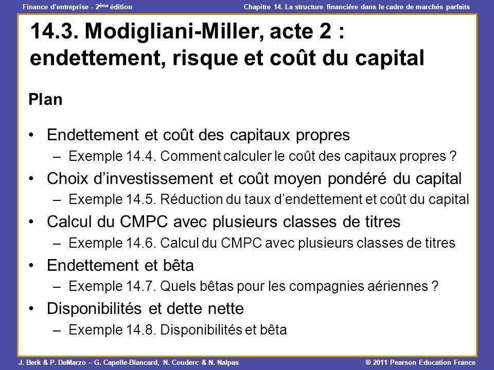 14.3. Modigliani-Miller, acte 2 : endettement, risque et coût du capital