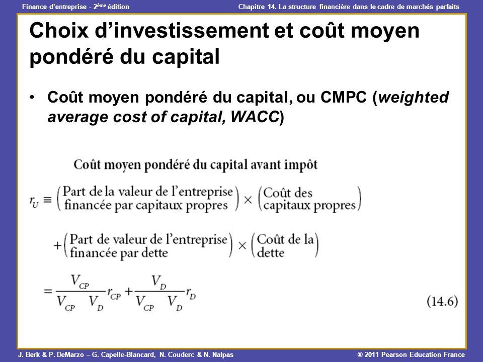 Choix d'investissement et coût moyen pondéré du capital