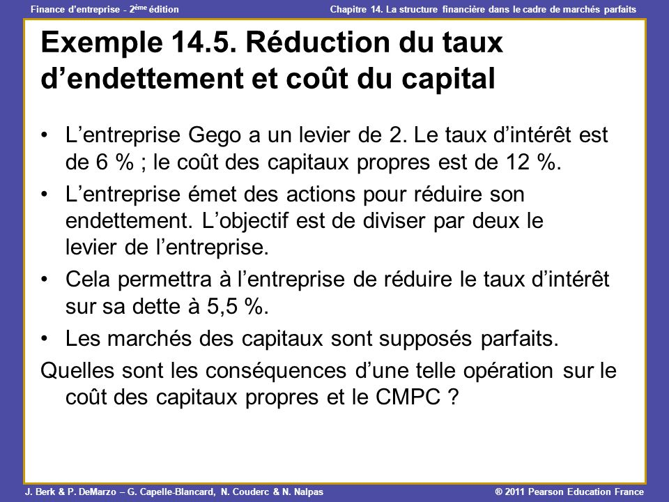 Exemple Réduction du taux d'endettement et coût du capital