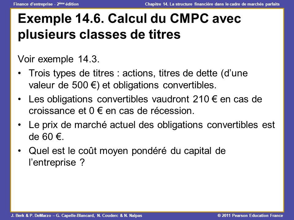 Exemple 14.6. Calcul du CMPC avec plusieurs classes de titres