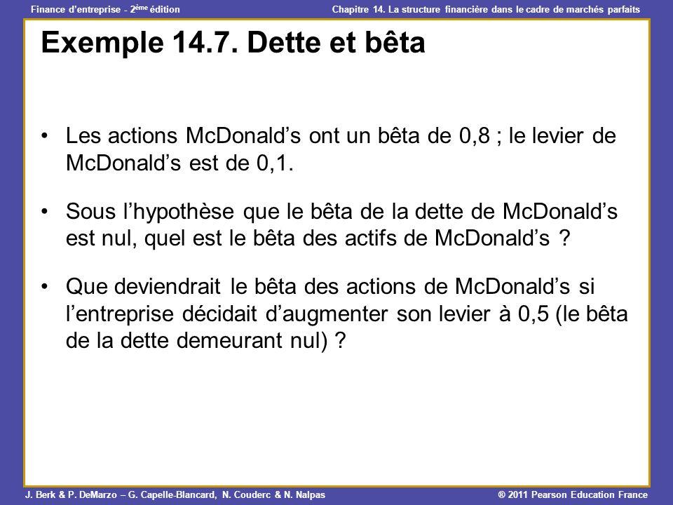 Exemple 14.7. Dette et bêta Les actions McDonald's ont un bêta de 0,8 ; le levier de McDonald's est de 0,1.