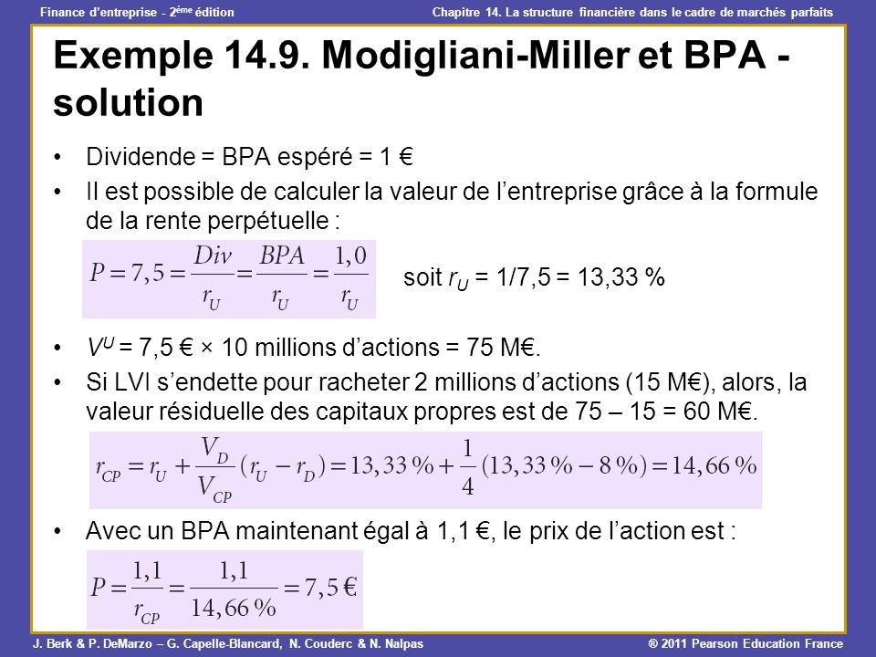 Exemple Modigliani-Miller et BPA - solution