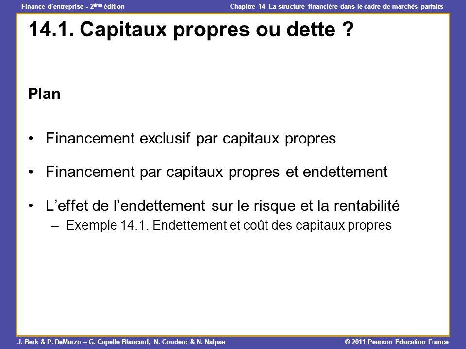 14.1. Capitaux propres ou dette
