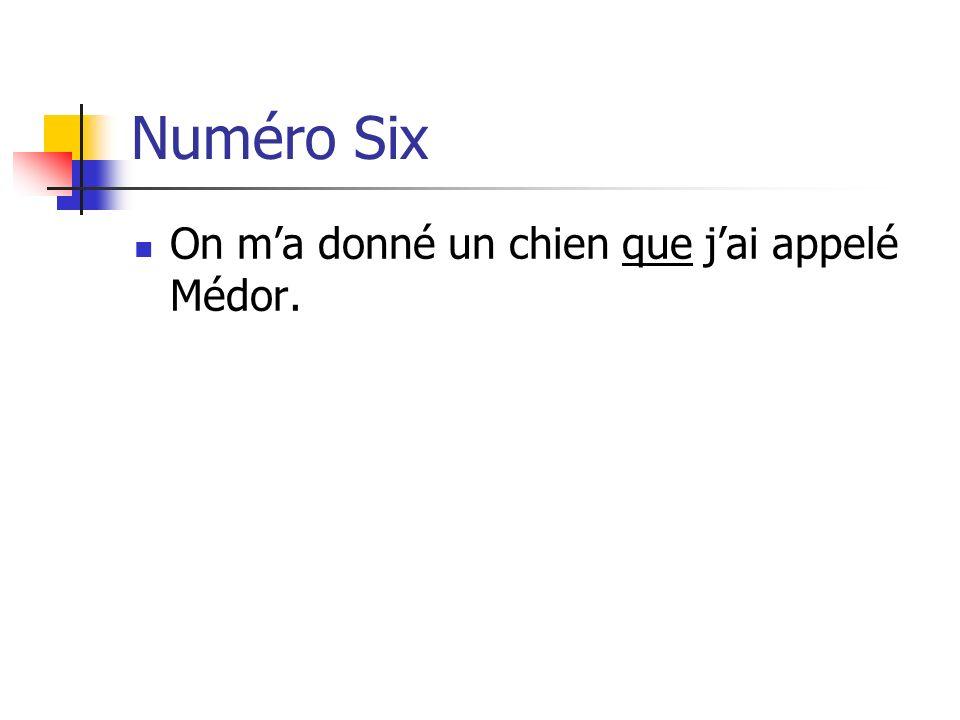 Numéro Six On m'a donné un chien que j'ai appelé Médor.
