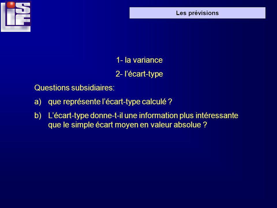 1- la variance 2- l'écart-type. Questions subsidiaires: que représente l'écart-type calculé