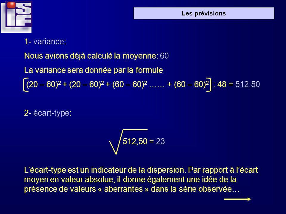 1- variance: Nous avions déjà calculé la moyenne: 60. La variance sera donnée par la formule.