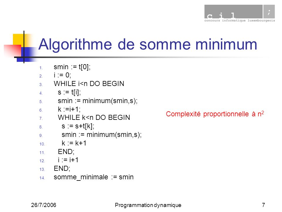 Algorithme de somme minimum