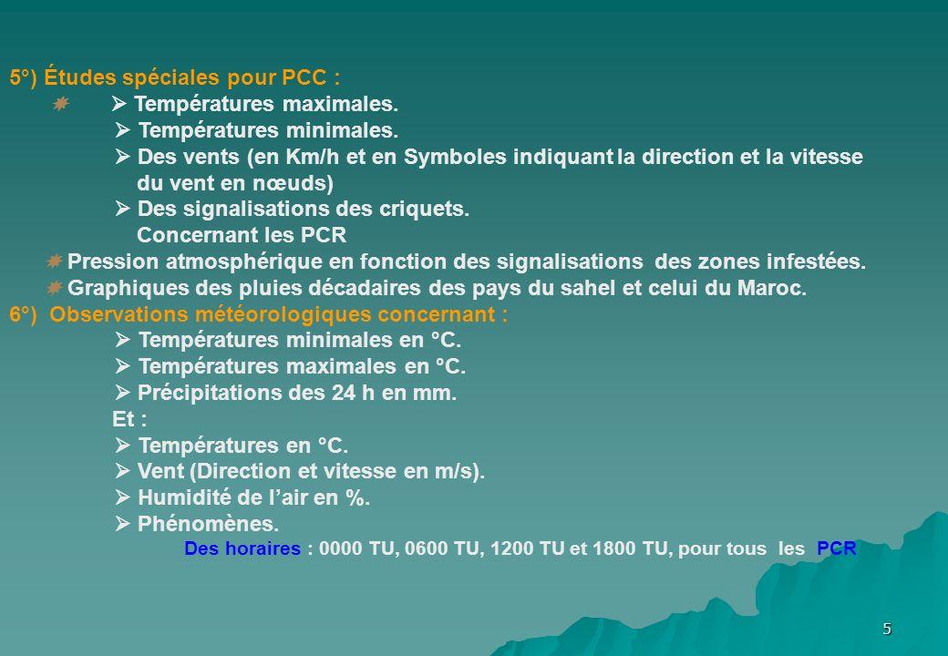 5°) Études spéciales pour PCC :   Températures maximales.