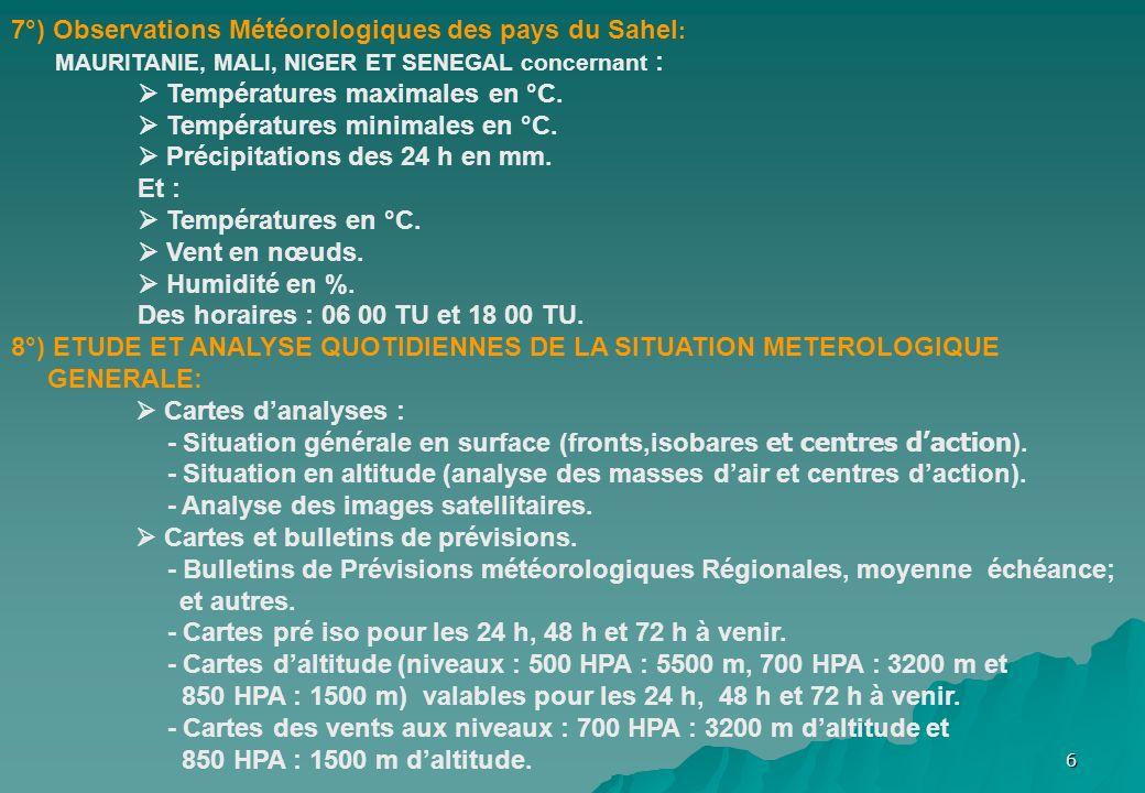 7°) Observations Météorologiques des pays du Sahel: