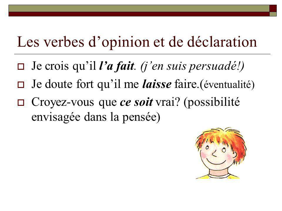 Les verbes d'opinion et de déclaration