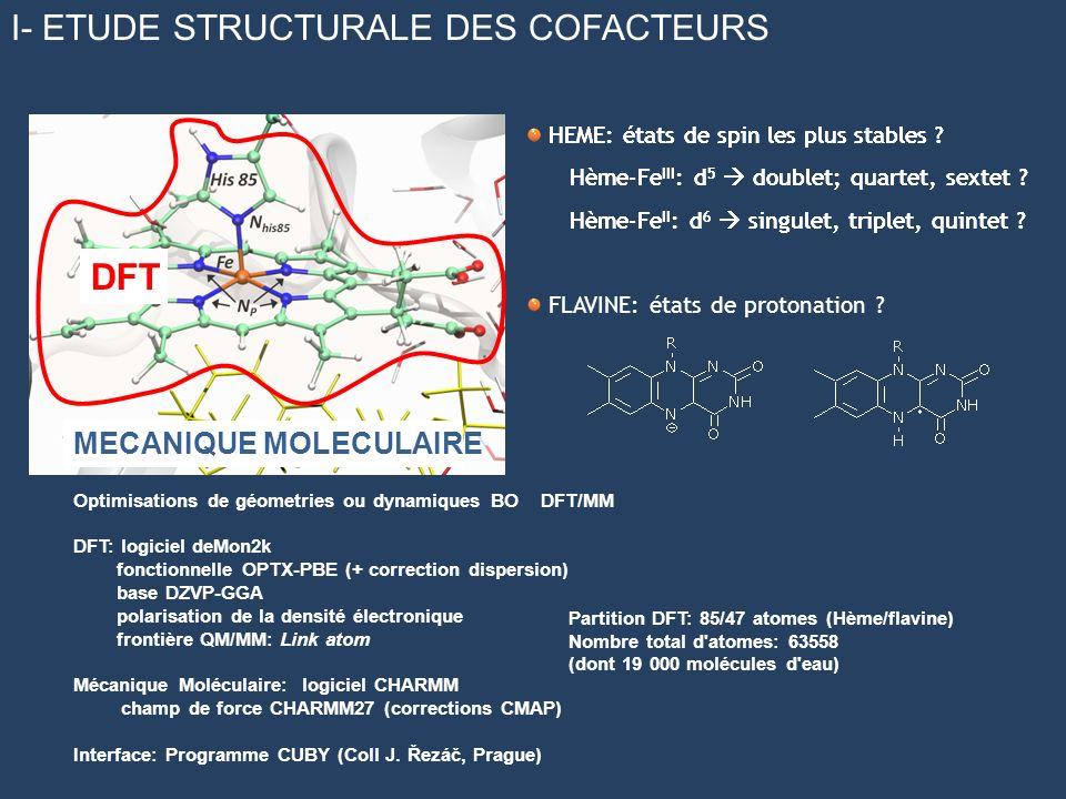 DFT I- ETUDE STRUCTURALE DES COFACTEURS MECANIQUE MOLECULAIRE