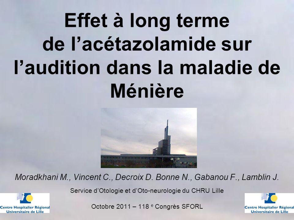 Effet à long terme de l'acétazolamide sur l'audition dans la maladie de Ménière