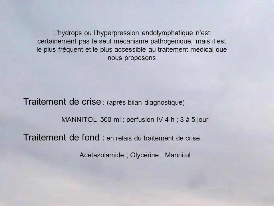 Traitement de crise : (après bilan diagnostique)