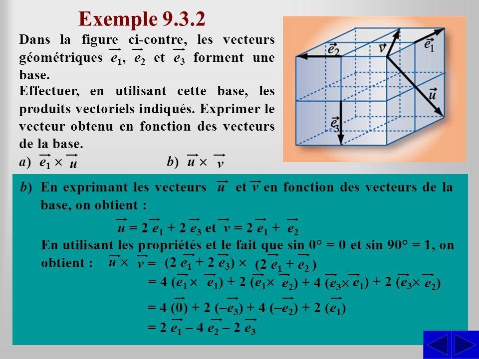 Exemple 9.3.2 Dans la figure ci-contre, les vecteurs géométriques e1, e2 et e3 forment une base. e1 ´u = 2 e2.