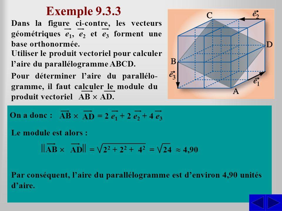 Exemple 9.3.3 Dans la figure ci-contre, les vecteurs géométriques e1, e2 et e3 forment une base orthonormée.