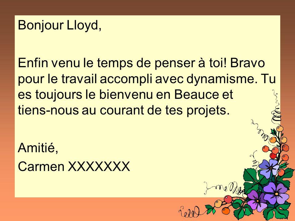 Bonjour Lloyd,