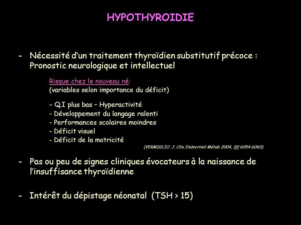 HYPOTHYROIDIE Nécessité d'un traitement thyroïdien substitutif précoce : Pronostic neurologique et intellectuel.