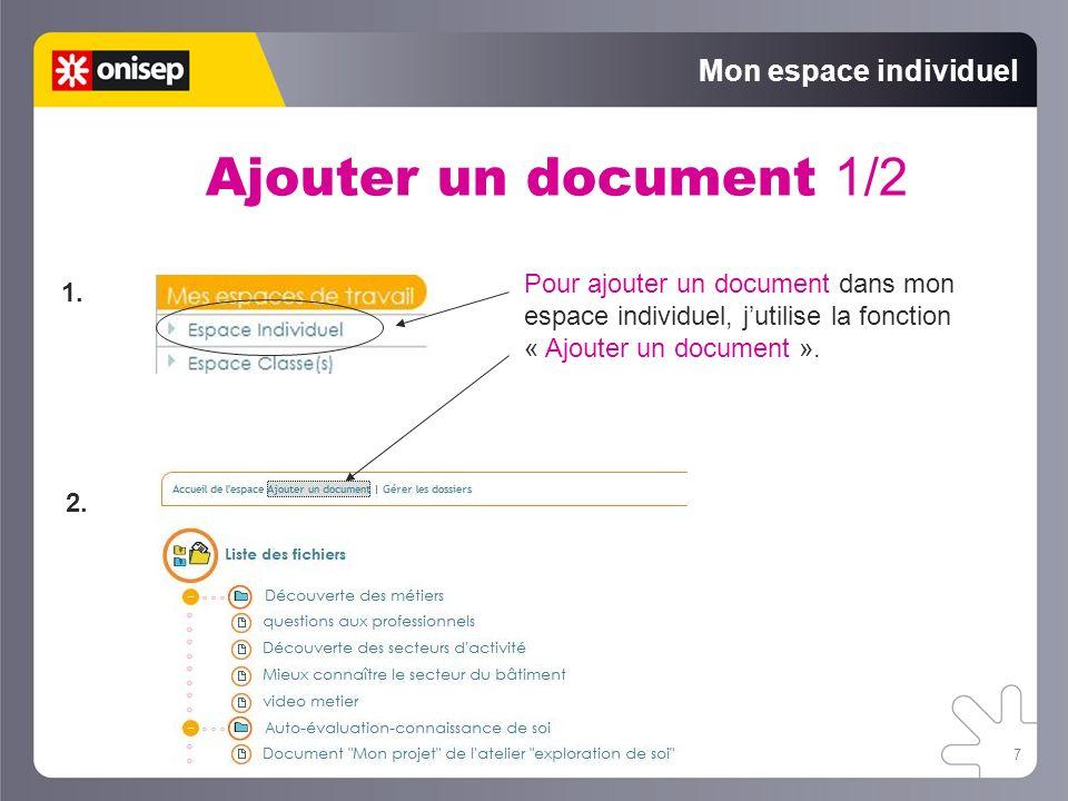 Ajouter un document 1/2 Mon espace individuel