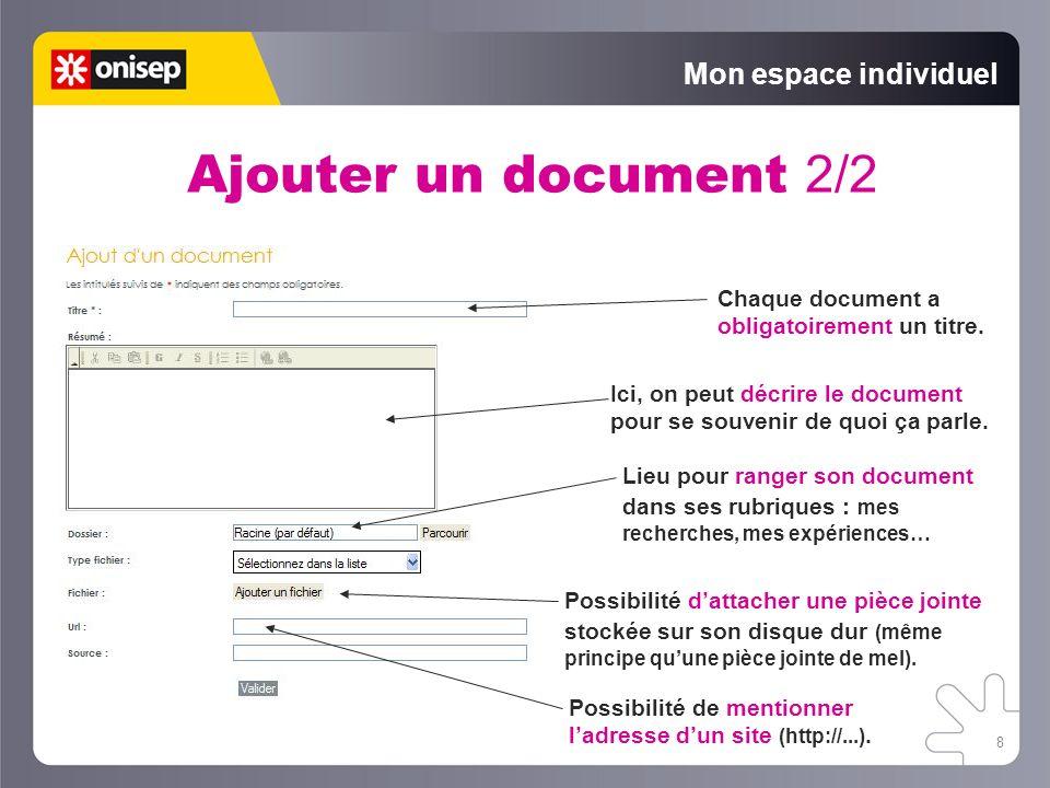 Ajouter un document 2/2 Mon espace individuel