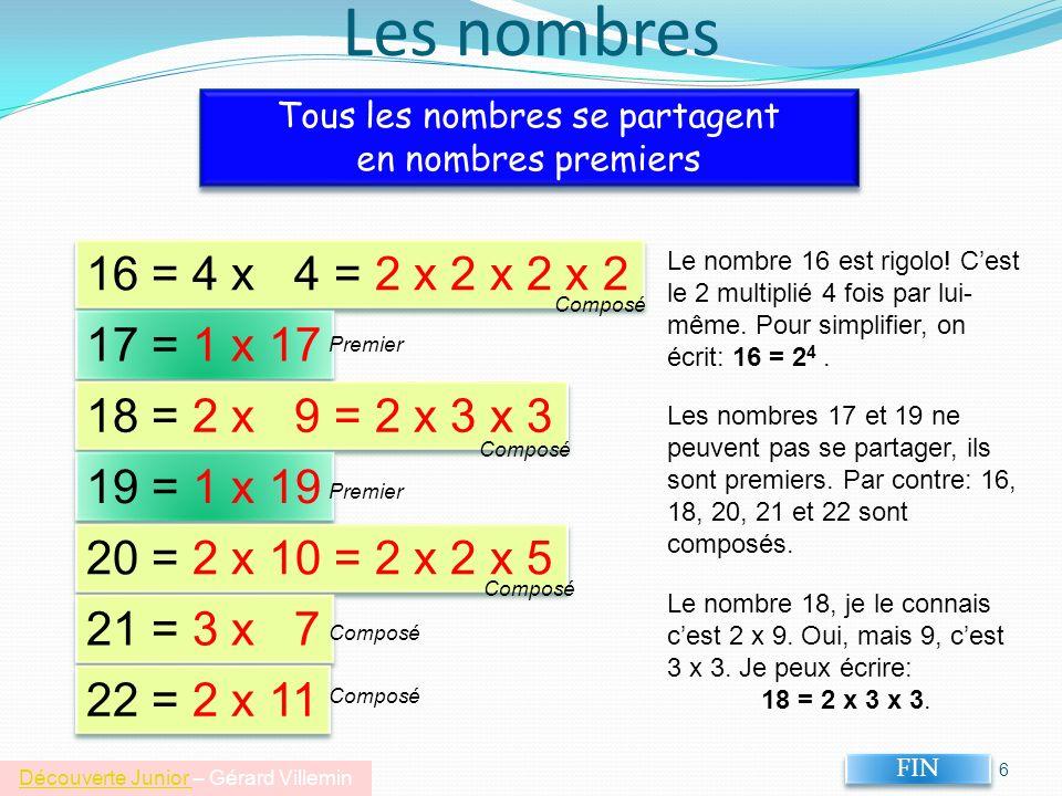 Les nombres Tous les nombres se partagent. en nombres premiers. 16 = 4 x 4 = 2 x 2 x 2 x 2.