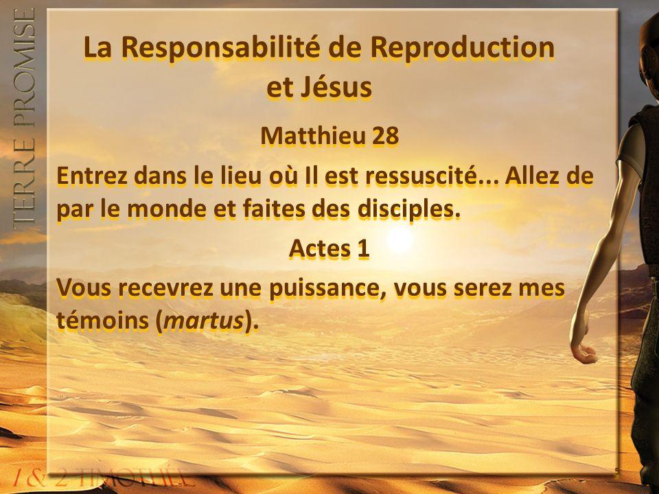 La Responsabilité de Reproduction et Jésus