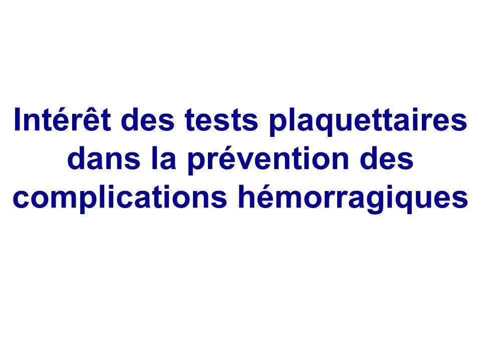 Intérêt des tests plaquettaires dans la prévention des complications hémorragiques