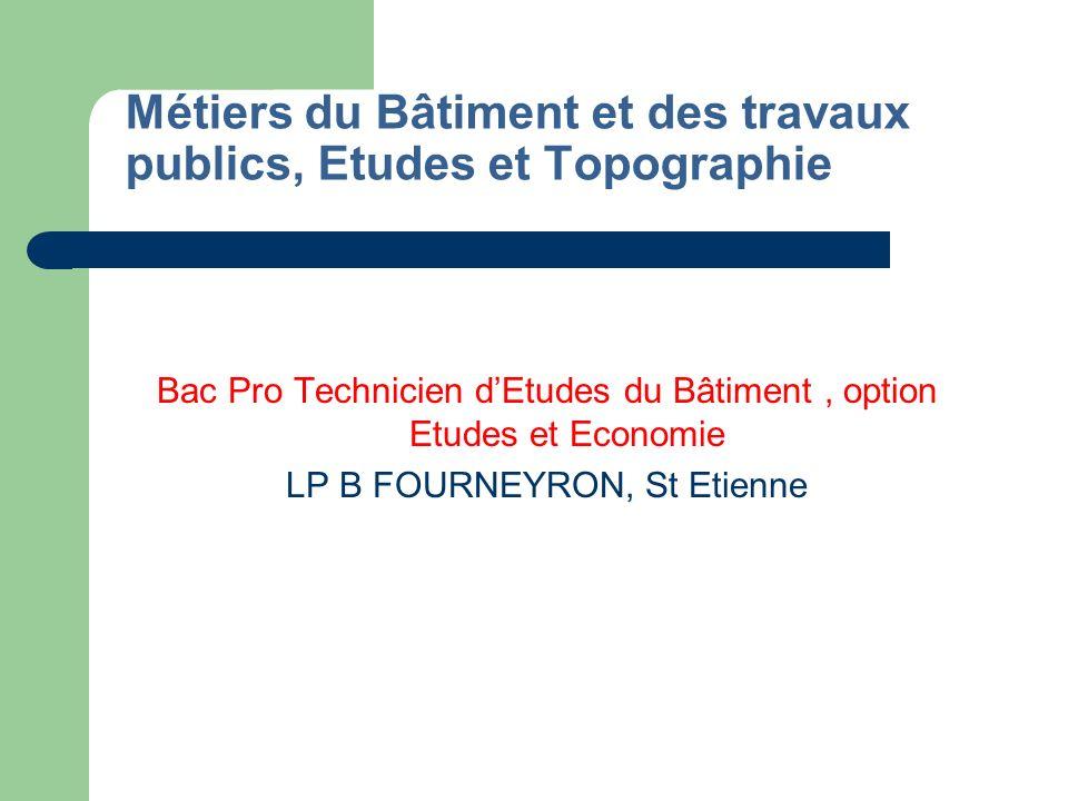 Métiers du Bâtiment et des travaux publics, Etudes et Topographie