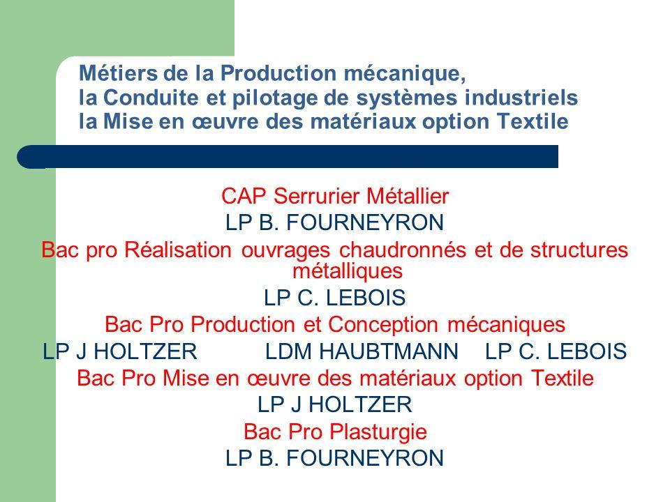 CAP Serrurier Métallier LP B. FOURNEYRON