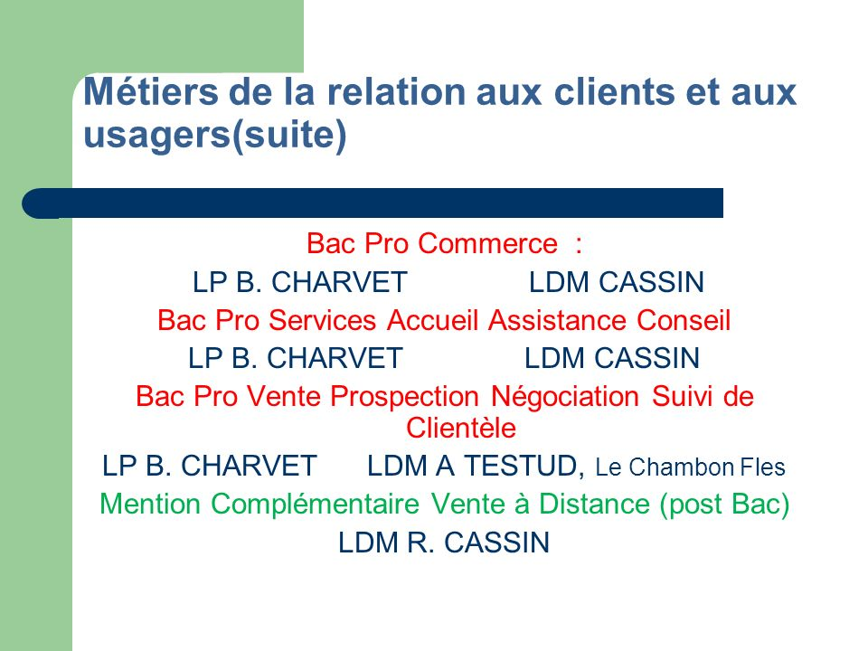 Métiers de la relation aux clients et aux usagers(suite)