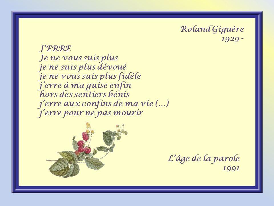 Roland Giguère 1929 - J'ERRE. Je ne vous suis plus. je ne suis plus dévoué. je ne vous suis plus fidèle.