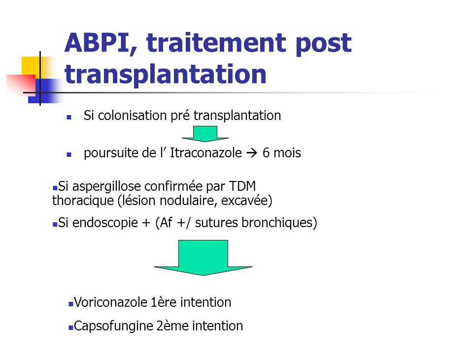 ABPI, traitement post transplantation