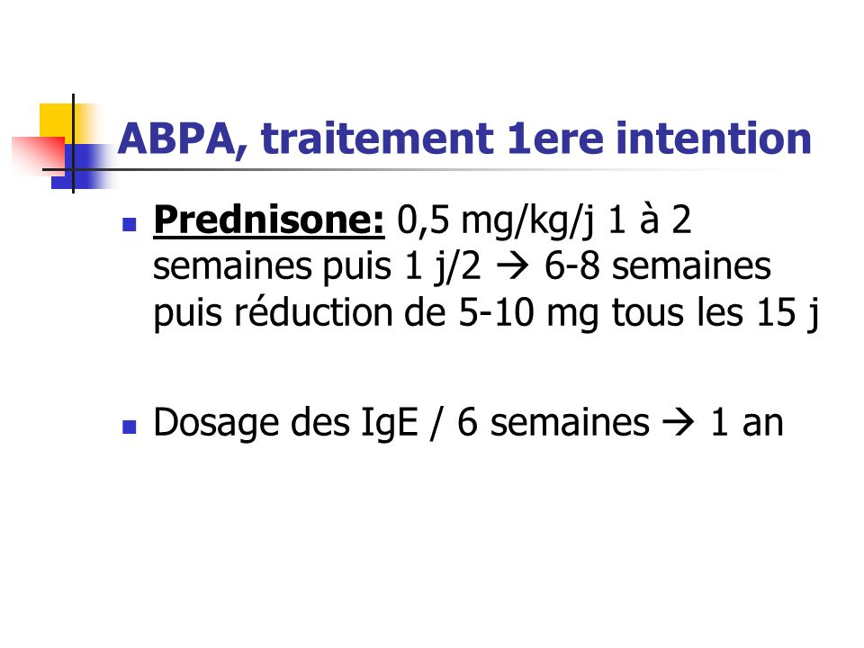 ABPA, traitement 1ere intention
