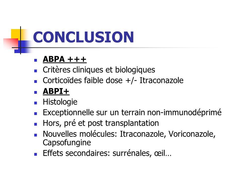 CONCLUSION ABPA +++ Critères cliniques et biologiques
