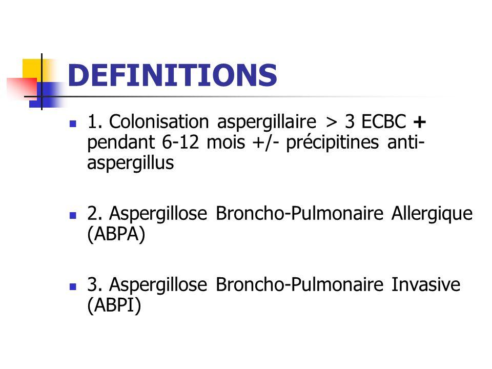 DEFINITIONS 1. Colonisation aspergillaire > 3 ECBC + pendant 6-12 mois +/- précipitines anti-aspergillus.